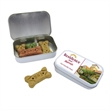 "Dog Bone Treat Tin - Small - Small tin that measures 2 3/8"" x 3 7/8"" x 3/4"" and is filled with four or five dog treats."
