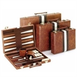 "11"" brown and white vinyl backgammon set - Small - 11"" brown and white vinyl backgammon set - Small"