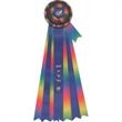 """Rosette Ribbon - Rosette ribbon with center and 6 side streamers, 25 1/2"""" overall length."""