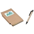 Recycled Pocket Jotter and Pen - Recycled pocket jotter with 60 pages, a sticky note pad, pen and full color imprint.