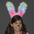 Light up bunny ears headband - pink and white