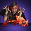 Red LED Cool Bat Shaped Sunglasses