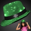 Shiny Green Fedora Hats with Flashing Lights