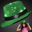 Shiny Green Fedora Hats with Flashing Lights - Custom shiny green fedora hats with flashing lights.