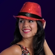Printed Sequin Red Fedora Hats with Flashing LEDs - Printed sequin red fedora hat with flashing LEDs.