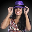 Sequin Purple Fedora Hats with Flashing LEDs - Printed sequin Purple fedora hat with flashing LEDs.