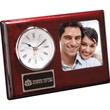 "Madera Clock / Frame - 6 1/2"" x 4 1/4"" x 3/4"" combination clock and picture frame for a 3"" x 3"" photo."