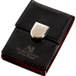 Cairo Business Card Holder - Flip style business card case with chrome metal and black leatherette construction.