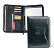 "Deluxe Executive Vintage Leather Padfolio - Vintage leather padfolio with inside zippered pocket and 8 1/2"" x 11"" paper pad."