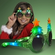 Light Up Glitter Christmas Tree Sunglasses - Light Up Christmas Sunglasses to bring out the fun in any promo!