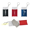 Cloth & Flashlight - Lens cleaning cloth in plastic carry case with snap closure and key chain.