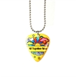 Guitar Pick on Ball Chain Necklace - Guitar pick made of resin on a ball chain necklace with single-sided full color or printed imprint.