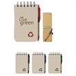 Eco-Rich Spiral Jotter & Pen - Eco-friendly spiral jotter and matching pen with elastic pen loop.