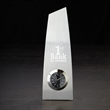"""Metal Trophy Clock - 9.75"""" x 3.25"""" metal trophy clock with tower design and metal structure accents."""