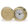 "Bullion Clock - 2"" x 3 3/4"" x 1"" brass coin clock with analog design."