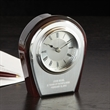 Pavise Clock - Wooden clock with silver metal front, quartz movement and laser engraving.