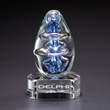 Atom w/ Clear Base - Glass award with exquisite blue design encircled by clear rings and a clear customizable base.