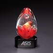 "Lava w/ Black Base - 6"" x 3.25"" x 2.75"" egg shaped glass sculpture/award that sits atop a black crystal base."