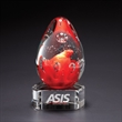 """Lava w/ Clear Base - 6"""" x 3.25"""" x 2.75"""" egg shaped glass sculpture/award that sits atop a clear crystal base."""