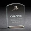 """Mastery - 6"""" x 4.88"""" x 1.88"""" crystal clear glass award with polished silver base and silver metal star."""