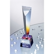 Arcobaleno Dichroic Crystal Award - Crystal award featuring a tapered pillar set upon a colorful dichroic glass base.