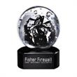 Noir Art Glass Award with Base - Award with ribbons on black glass interwoven within a clear glass sphere.