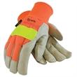 Insulated Pigskin Glove - Insulated pigskin glove with high visibility orange nylon back and reflective band.