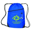 Zippered Sling Bag W/Grommet - Polyester sling bag with nylon braided drawstring closure, reinforced bottom corners, from zipper pocket and rubber earbud port.