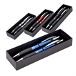Edge Ballpoint / Pencil Set - Two piece gift box with plunger action aluminum ballpoint pen and mechanical pencil with rubber grip and metal clip set.