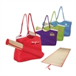 """Sunshine Beach Tote & Mat - Sunshine beach tote and mat; includes 6.75"""" x 15"""" x 21.5"""" polyester tote bag and a 24"""" x 71"""" straw mat."""