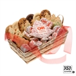 Custom 36 Piece Logo Christmas Tree Gift Basket - A gift basket filled with 36 treats with custom logo and sprinkles