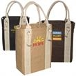 Yachter's Jute Tote - Jute fabric tote with cotton rope handles and metal grommets.