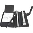 Autobahn simulated leather auto kit - Simulated leather auto kit with a pan, flashlight, tire gauge and a jotter pad