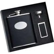 Three Piece Flask, Funnel and Money Clip Set - Gift set with leather bonded flask, funnel and money clip.