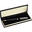 Single Pen Velvet Series Set - Single brass/satin chrome checker design ballpoint pen in velvet lined box.