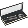 Double Pen Velvet Set - Chrome checker design ballpoint and rollerball pen in velvet lined box.