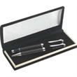 Double Pen Velvet Set - Black carbon checker ballpoint and rollerball pen in velvet lined box.