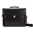 The Frakfurt Compu/Tablet Brief - Tablet briefcase made of dobby textured leather with silver hardware.