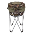 Camouflage Collapsible Barrel Cooler with Stand - Collapsible barrel cooler with stand made of 600 Denier polyester w/ durable metal stand.