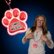 Imprinted light up black paw print necklaces