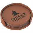 Brown Leather Set of 4 Coaster With A Holder - Brown leather set of 4 coasters with holder.