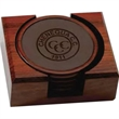 Coaster Set - Solid wood and leather four piece coaster set.