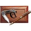 """Ballpoint Pen & 4"""" Lockback Knife In Wood Box - Ballpoint pen and 4"""" lock back knife in wood gift box."""
