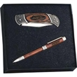 "Italica Gift Set - Medium box set with 4"" lock back knife and a rosewood twist action ballpoint pen."