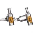 Stainless Steel Cufflinks - Custom Wine Bottle Shape - Custom wine bottle shape cufflinks with a torpedo style closure.