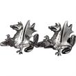 Brass Cufflinks - Custom 3D Shape - Dragon - Custom dragon design shape cufflinks with a torpedo style closure.