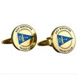 Brass Cufflinks - Custom Round w/ Enamel - Custom round brass cufflinks with rhodium and enamel.
