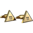 Brass Cufflinks - Custom Shape - Gold Colored Finish - Custom logo shape cufflinks, brass with gold color and enamel etched.