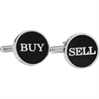 Buy / Sell Cufflinks - Buy / sell cufflinks with black enamel and a bullet back closure.