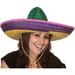 Multicolored Straw Sombrero - Multicolored straw sombrero. Packed 6 dozen. Must be ordered in carton packs. Blank.